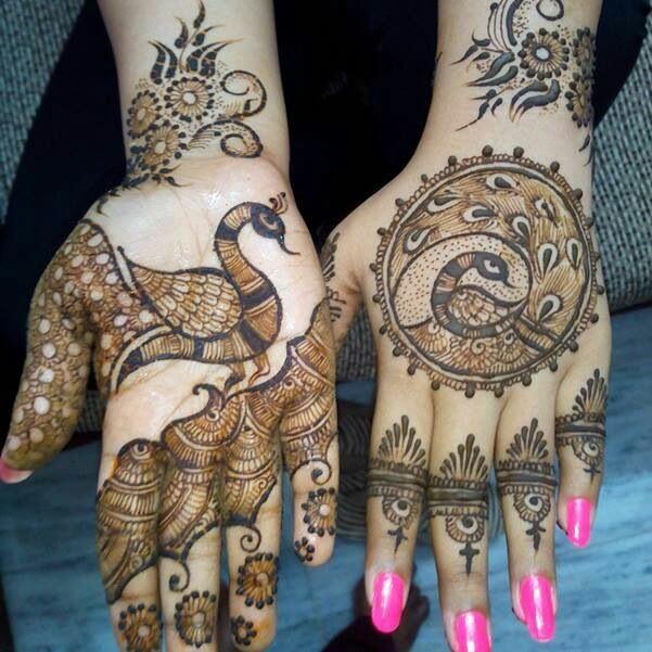 Sylish Peacock Design Mehndi for hands