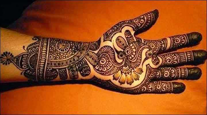 simple Peacock Design Mehndi for full hand