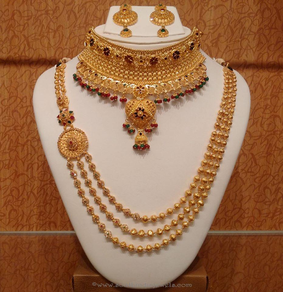Latest Indian Gold Jewellery Sets Designs For Bridal 2016: Trendy Gold Haram Necklace Set