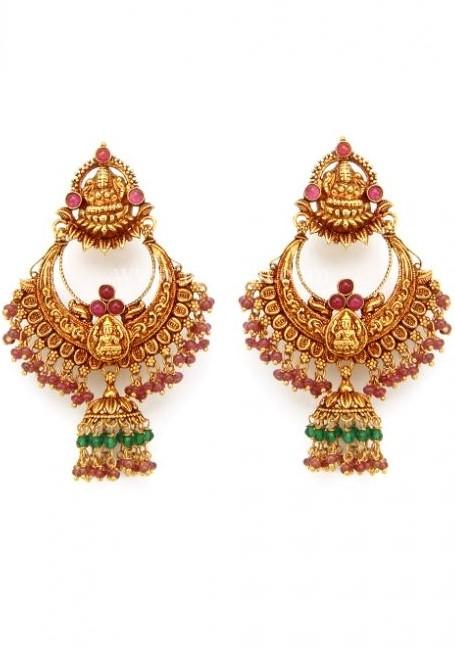 lord lakshmi devi gold jhumkas   fashion beauty mehndi