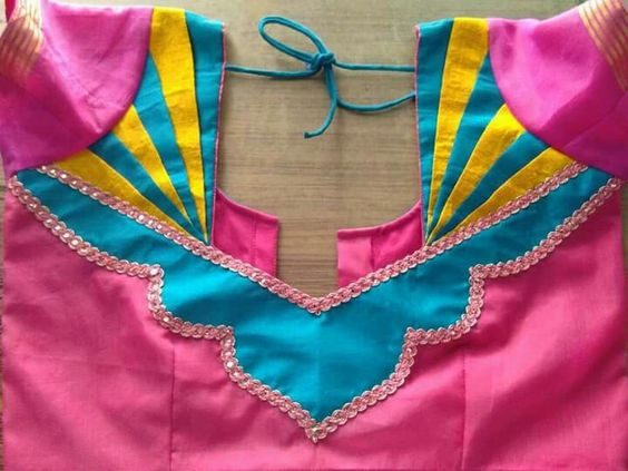 blouse design patterns back neck patch work