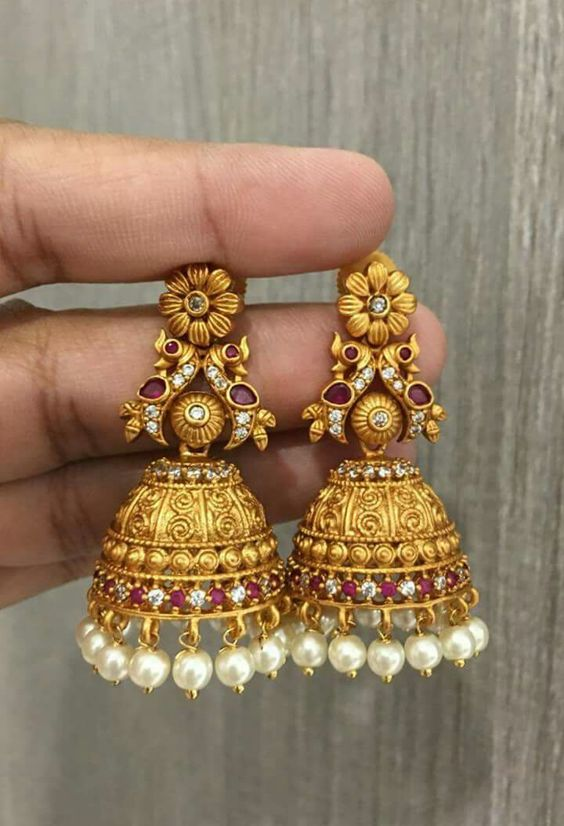 Beautiful Designs Of Gold Jhumkas Fashion Beauty Mehndi