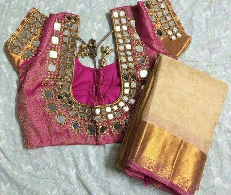 Simple Mirror Work Blouse Designs Fashion Beauty Mehndi