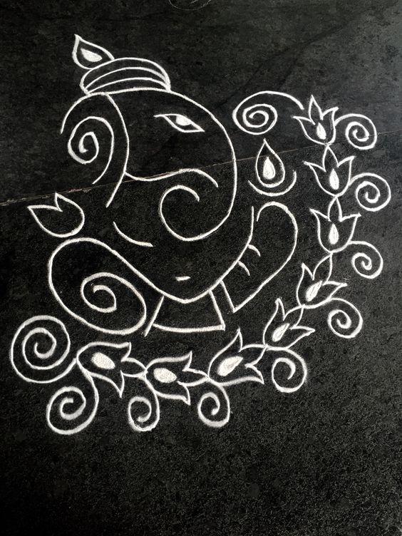 Rangoli Design Ganesh Rangoli With Flowers
