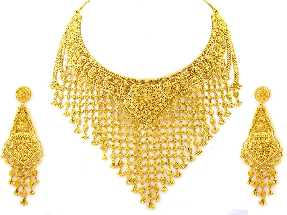 jewelry heavy pin motifs necklace jewel indian mango and gold